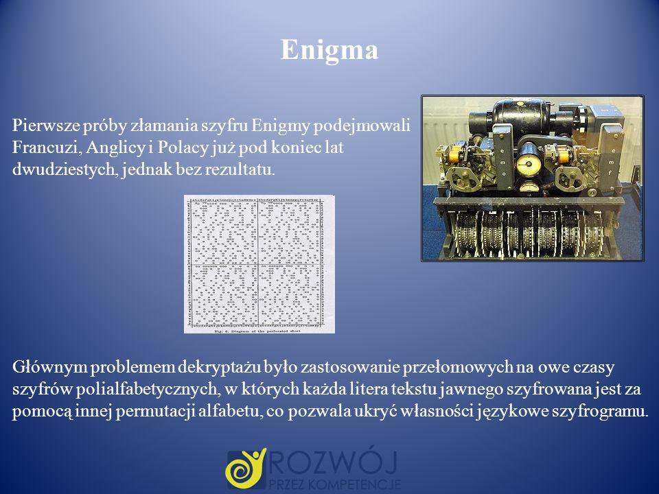 Pierwsze próby złamania szyfru Enigmy podejmowali Francuzi, Anglicy i Polacy już pod koniec lat dwudziestych, jednak bez rezultatu. Głównym problemem