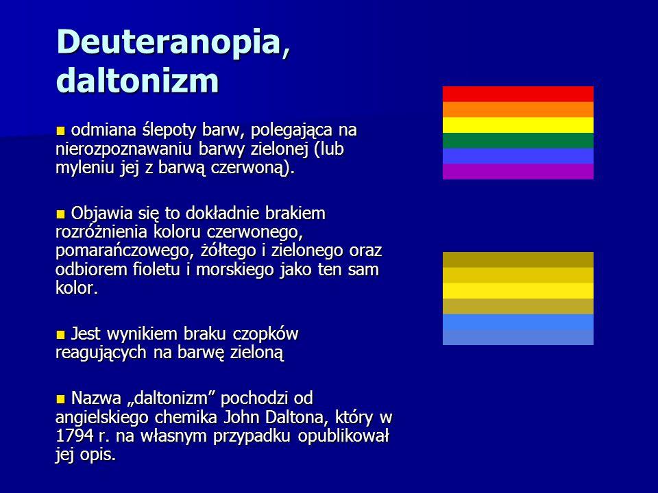 Deuteranopia, daltonizm odmiana ślepoty barw, polegająca na nierozpoznawaniu barwy zielonej (lub myleniu jej z barwą czerwoną). odmiana ślepoty barw,