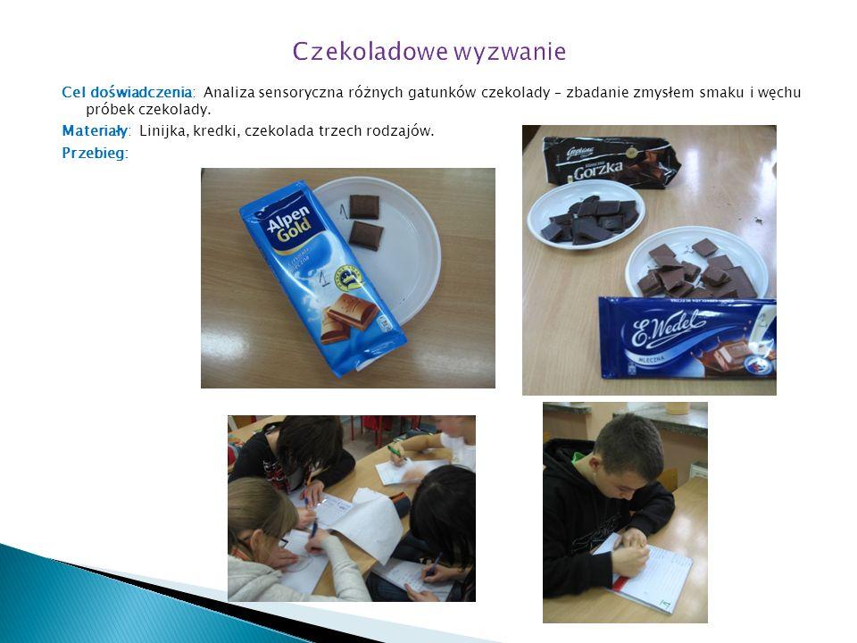 Cel doświadczenia: Analiza sensoryczna różnych gatunków czekolady – zbadanie zmysłem smaku i węchu próbek czekolady.
