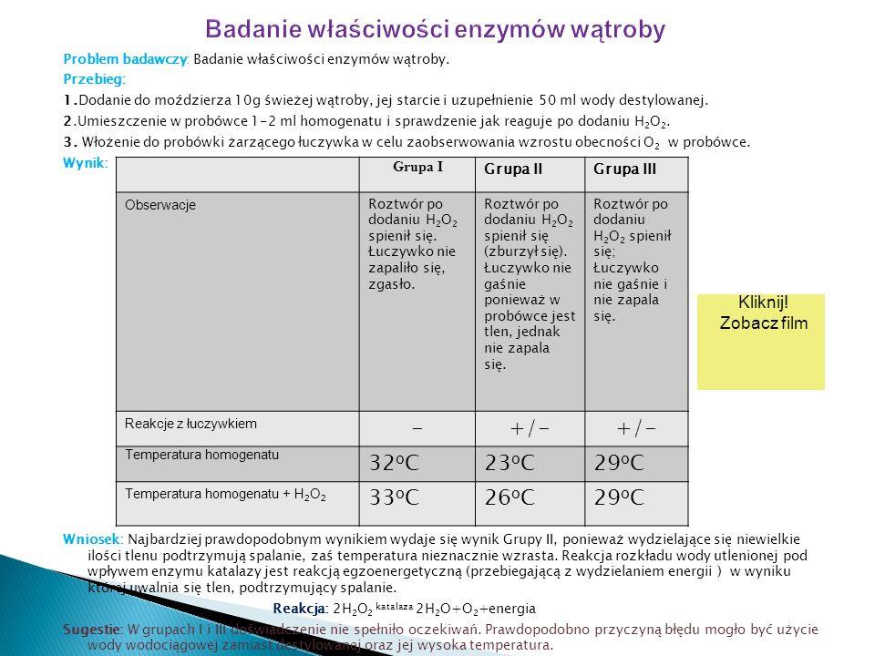Problem badawczy: Badanie właściwości enzymów wątroby.
