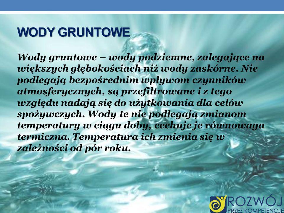 WODY GRUNTOWE Wody gruntowe – wody podziemne, zalegające na większych głębokościach niż wody zaskórne. Nie podlegają bezpośrednim wpływom czynników at