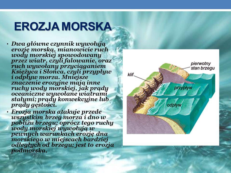 EROZJA MORSKA Dwa główne czynnik wywołują erozję morską, mianowicie ruch wody morskiej spowodowany przez wiatr, czyli falowanie, oraz ruch wywołany pr