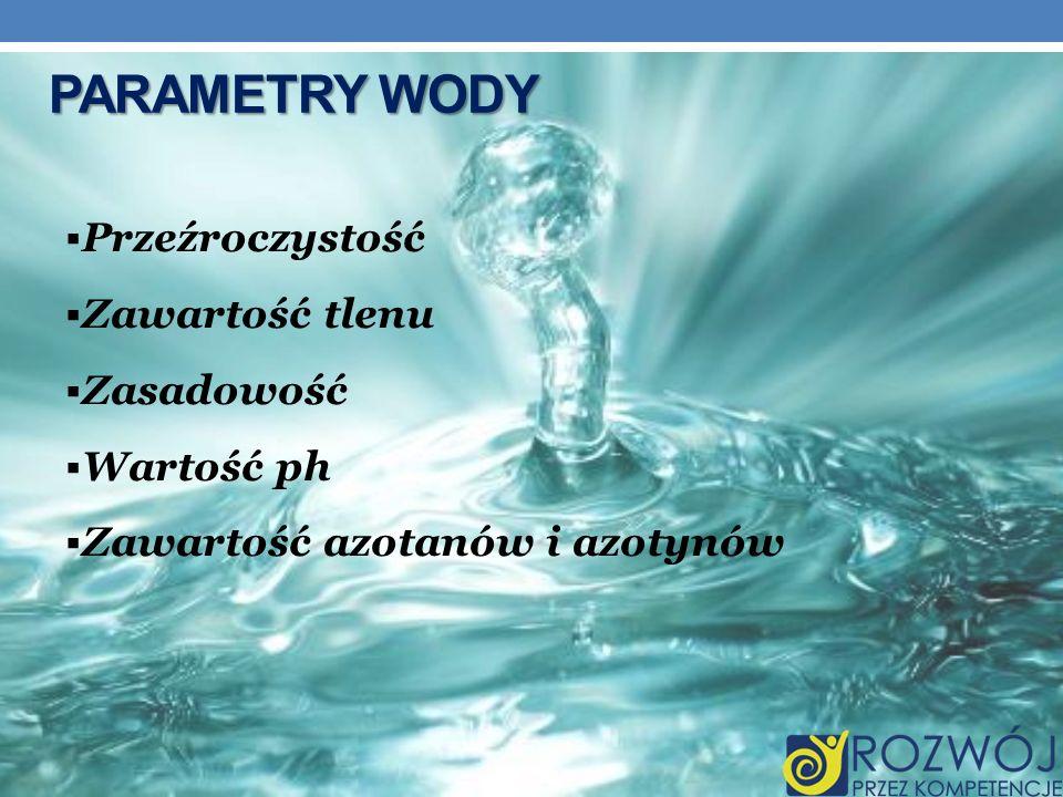 PARAMETRY WODY Przeźroczystość Zawartość tlenu Zasadowość Wartość ph Zawartość azotanów i azotynów
