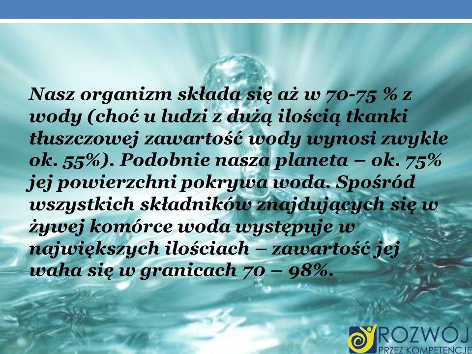 Nasz organizm składa się aż w 70-75 % z wody (choć u ludzi z dużą ilością tkanki tłuszczowej zawartość wody wynosi zwykle ok. 55%). Podobnie nasza pla