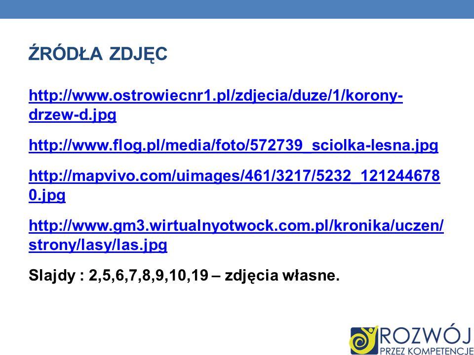 ŹRÓDŁA ZDJĘC http://www.ostrowiecnr1.pl/zdjecia/duze/1/korony- drzew-d.jpg http://www.flog.pl/media/foto/572739_sciolka-lesna.jpg http://mapvivo.com/uimages/461/3217/5232_121244678 0.jpg http://www.gm3.wirtualnyotwock.com.pl/kronika/uczen/ strony/lasy/las.jpg Slajdy : 2,5,6,7,8,9,10,19 – zdjęcia własne.