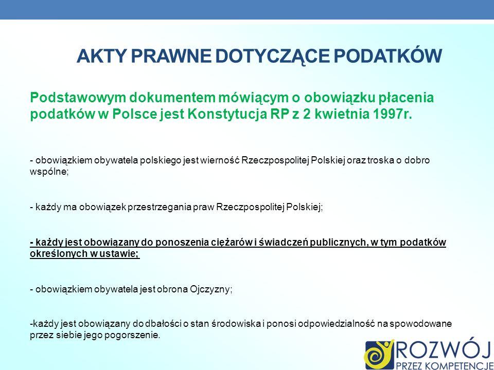 AKTY PRAWNE DOTYCZĄCE PODATKÓW Podstawowym dokumentem mówiącym o obowiązku płacenia podatków w Polsce jest Konstytucja RP z 2 kwietnia 1997r. - obowią