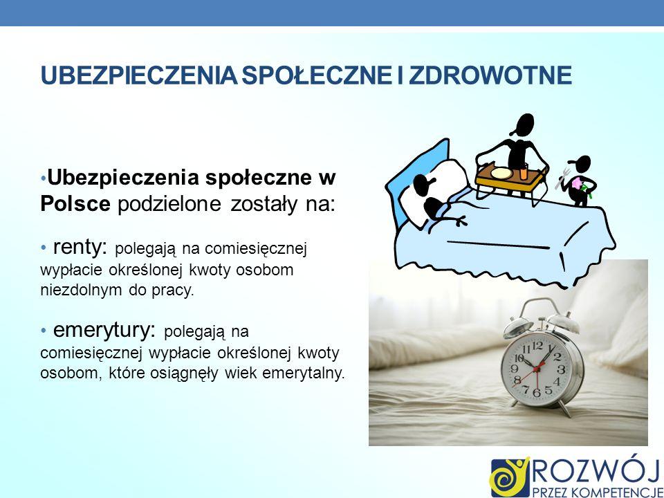 UBEZPIECZENIA SPOŁECZNE I ZDROWOTNE Ubezpieczenia społeczne w Polsce podzielone zostały na: renty: polegają na comiesięcznej wypłacie określonej kwoty