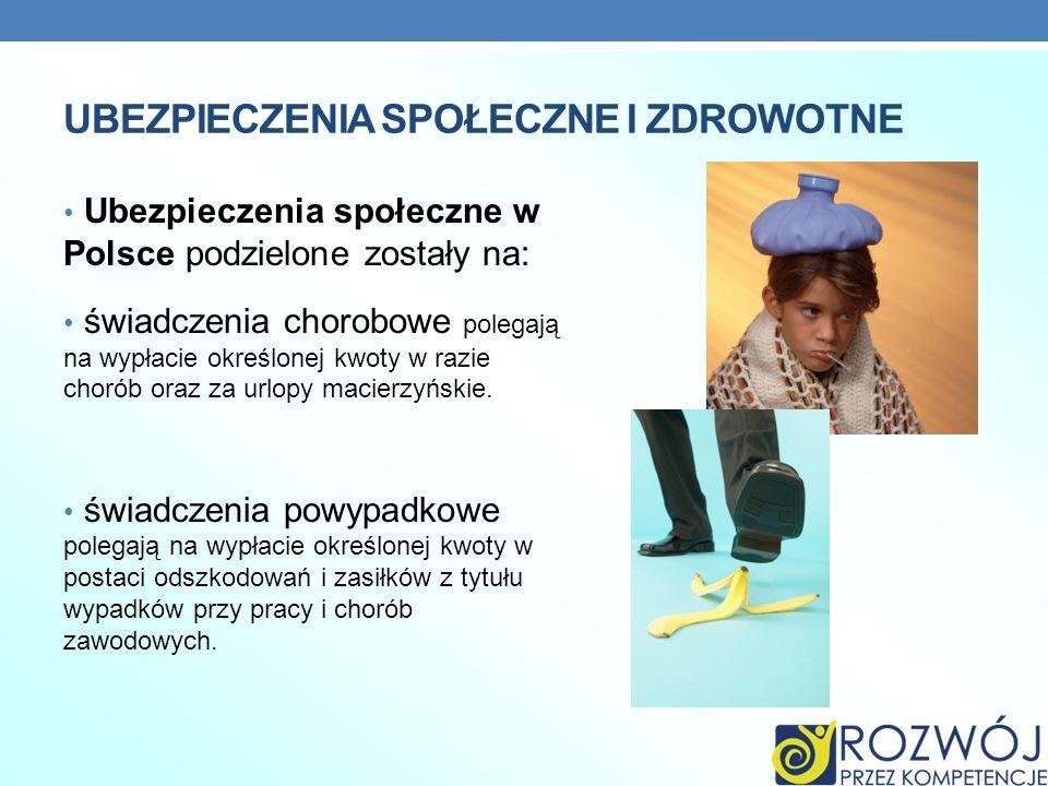UBEZPIECZENIA SPOŁECZNE I ZDROWOTNE Ubezpieczenia społeczne w Polsce podzielone zostały na: świadczenia chorobowe polegają na wypłacie określonej kwot