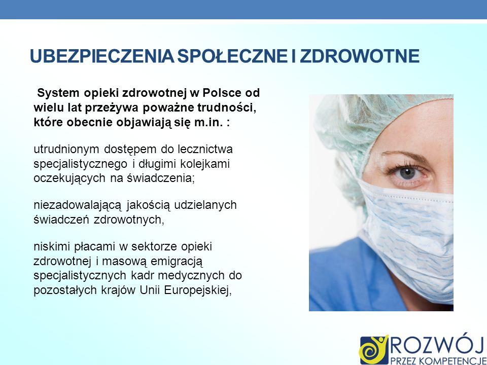 UBEZPIECZENIA SPOŁECZNE I ZDROWOTNE System opieki zdrowotnej w Polsce od wielu lat przeżywa poważne trudności, które obecnie objawiają się m.in. : utr