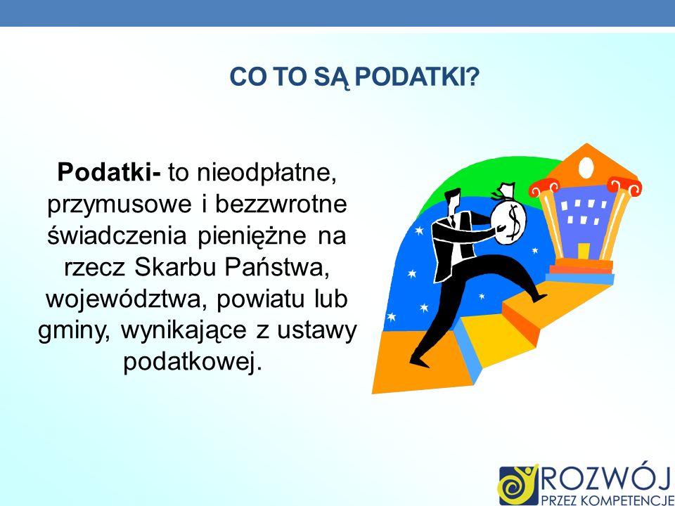 RODZAJE PODATKÓW W POLSCE W Polsce obowiązuje dwanaście podatków ogólnie podzielonych na: podatki bezpośrednie i pośrednie.