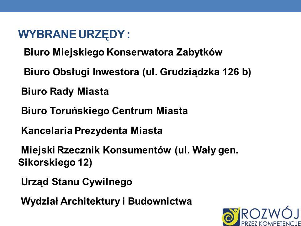 WYBRANE URZĘDY : Biuro Miejskiego Konserwatora Zabytków Biuro Obsługi Inwestora (ul.