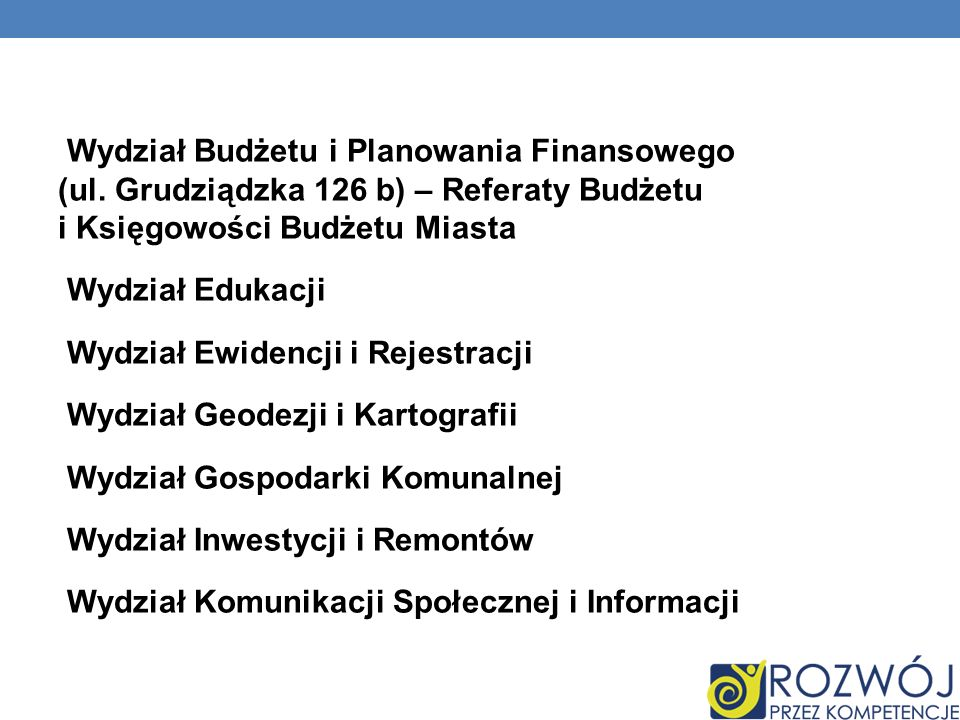 Wydział Budżetu i Planowania Finansowego (ul.
