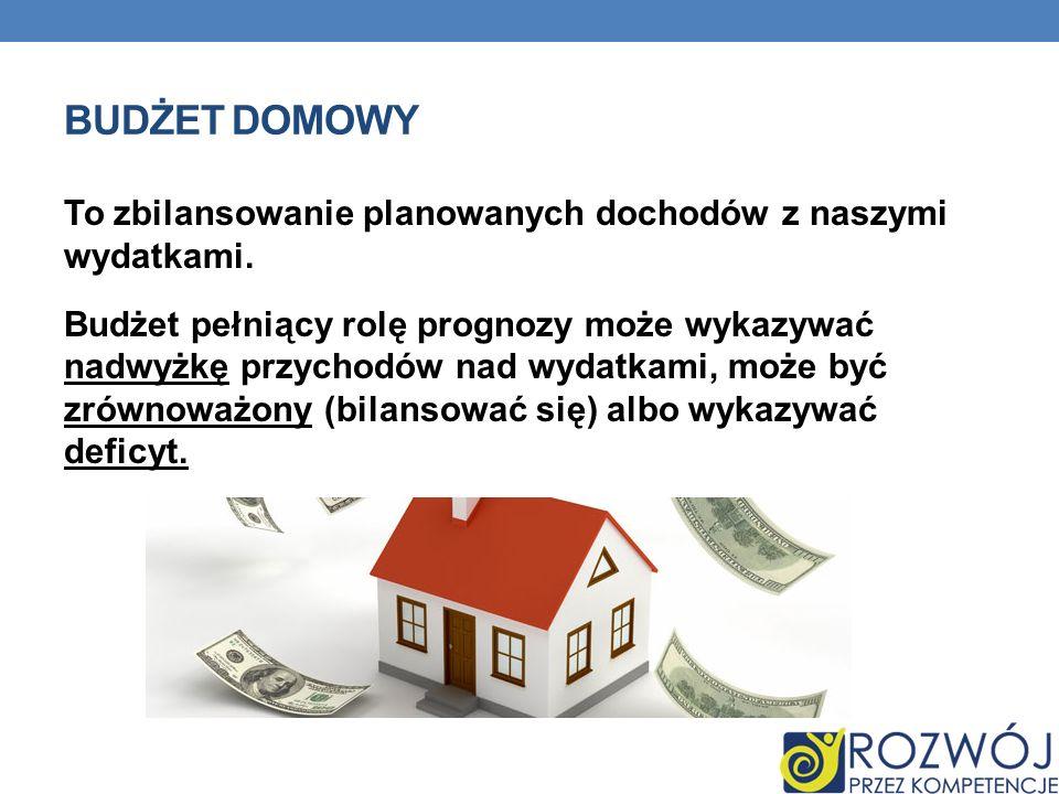 BUDŻET DOMOWY To zbilansowanie planowanych dochodów z naszymi wydatkami. Budżet pełniący rolę prognozy może wykazywać nadwyżkę przychodów nad wydatkam