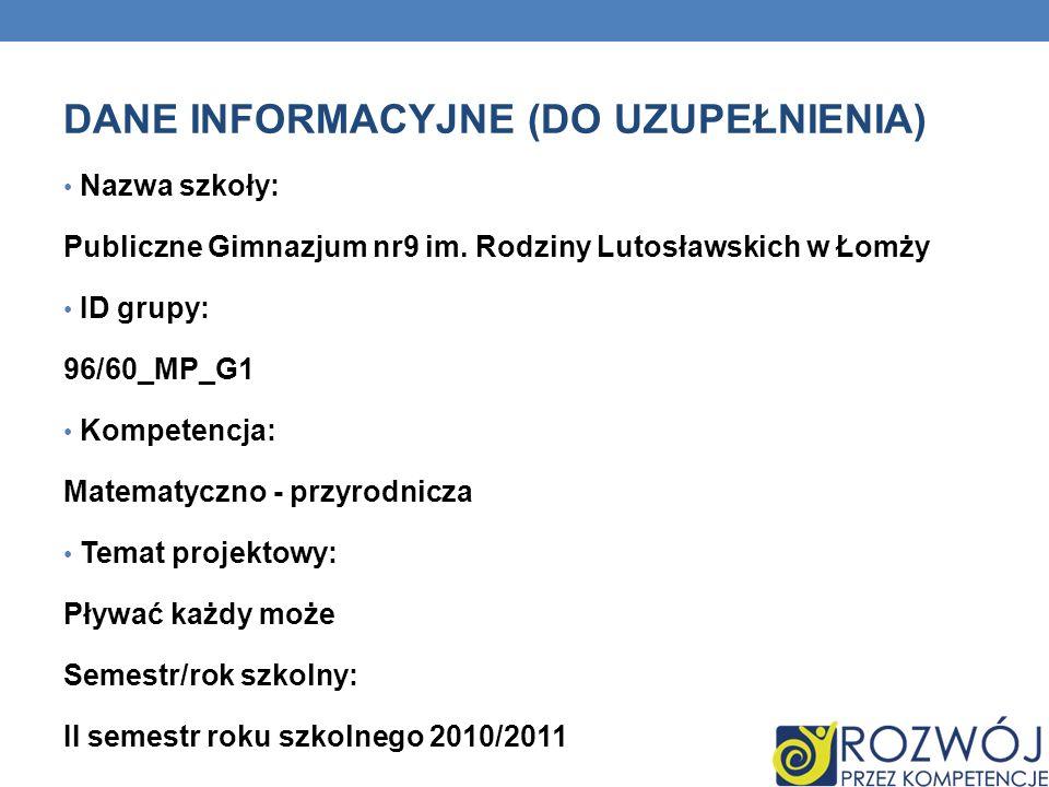 DANE INFORMACYJNE (DO UZUPEŁNIENIA) Nazwa szkoły: Publiczne Gimnazjum nr9 im.