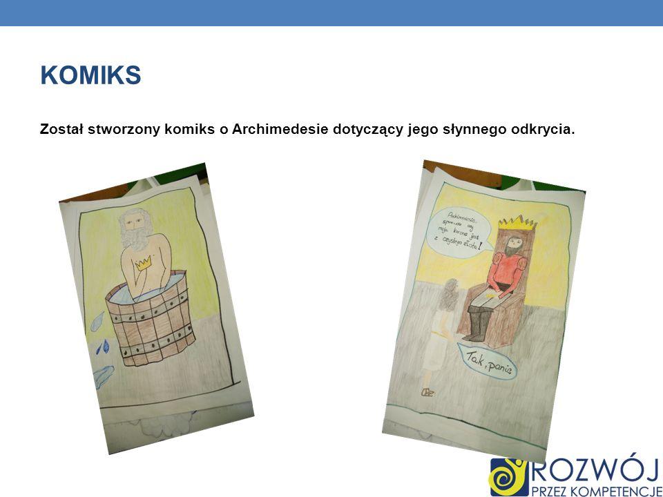 KOMIKS Został stworzony komiks o Archimedesie dotyczący jego słynnego odkrycia.