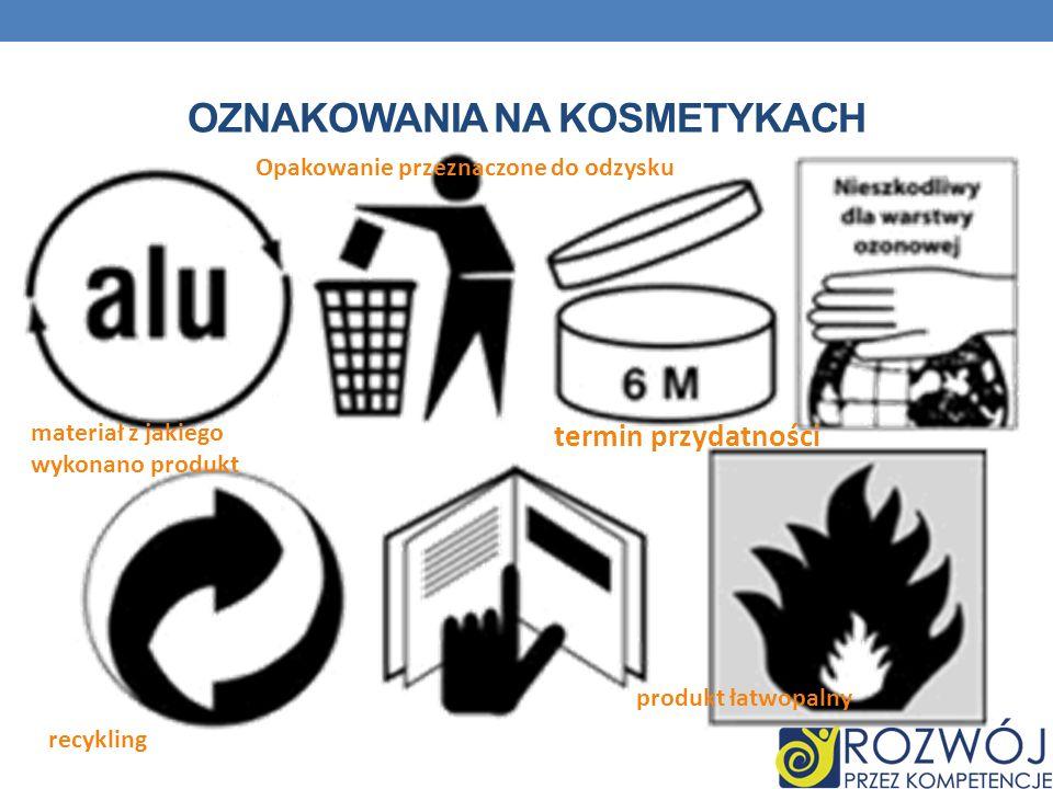 OZNAKOWANIA NA KOSMETYKACH termin przydatności Opakowanie przeznaczone do odzysku recykling materiał z jakiego wykonano produkt produkt łatwopalny