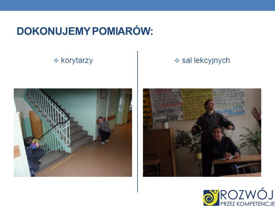 DOKONUJEMY POMIARÓW: korytarzy sal lekcyjnych