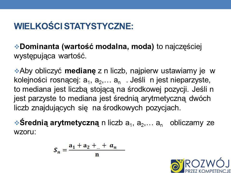 WIELKOŚCI STATYSTYCZNE: Dominanta (wartość modalna, moda) to najczęściej występująca wartość. Aby obliczyć medianę z n liczb, najpierw ustawiamy je w