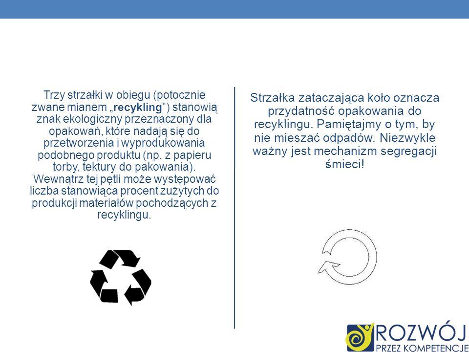 Trzy strzałki w obiegu (potocznie zwane mianem recykling) stanowią znak ekologiczny przeznaczony dla opakowań, które nadają się do przetworzenia i wyp
