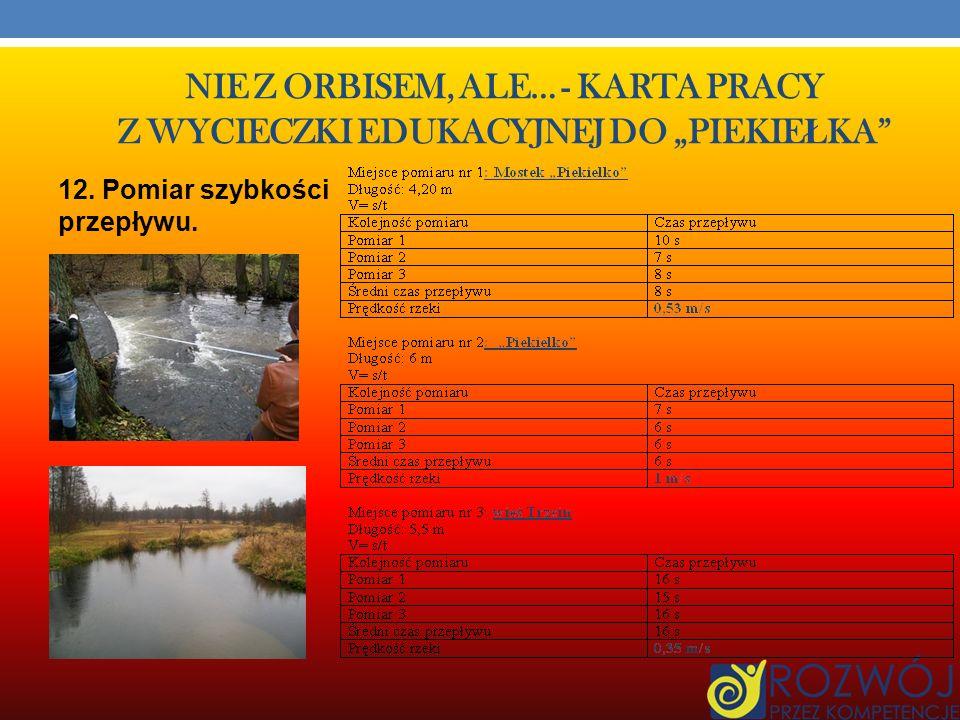 NIE Z ORBISEM, ALE… - KARTA PRACY Z WYCIECZKI EDUKACYJNEJ DO PIEKIE Ł KA 8. Pomiar szerokości rzeki Wel: a) ok. 12 m (mierzone miarą, na moście). 9. P