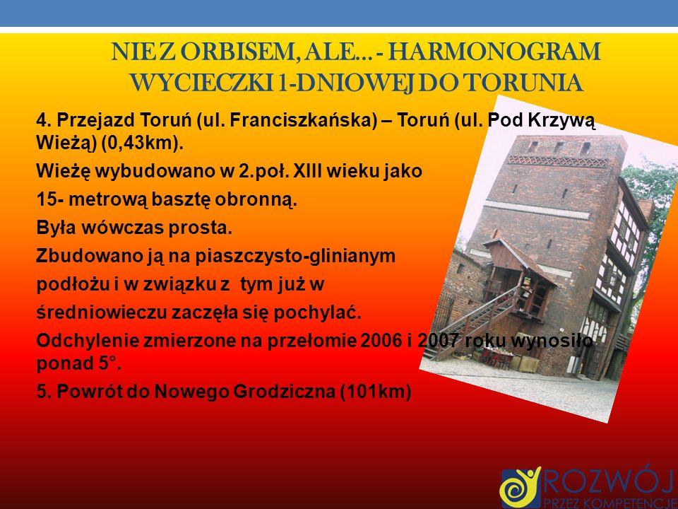 NIE Z ORBISEM, ALE… - HARMONOGRAM WYCIECZKI 1-DNIOWEJ DO TORUNIA Cena biletu grupowego szkolnego od osoby 8 zł.