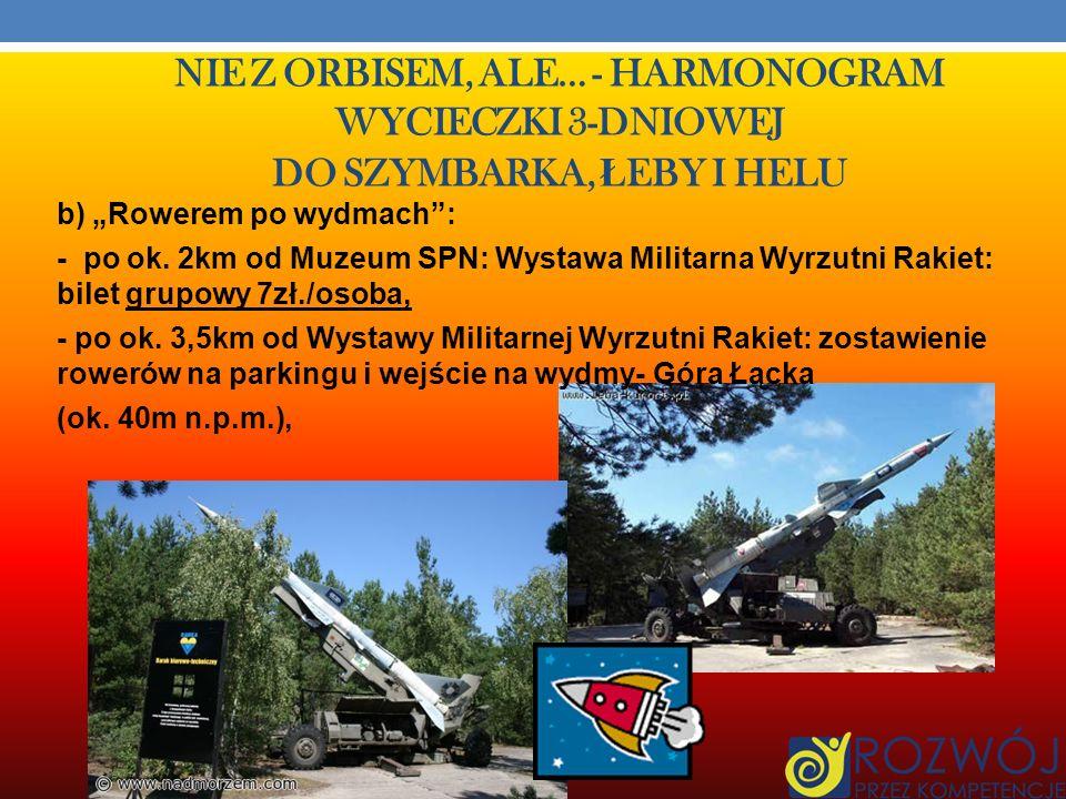 NIE Z ORBISEM, ALE… - HARMONOGRAM WYCIECZKI 3-DNIOWEJ DO SZYMBARKA, Ł EBY I HELU 2. Zwiedzanie Słowińskiego Parku Narodowego: a) dojazd autokarem do R