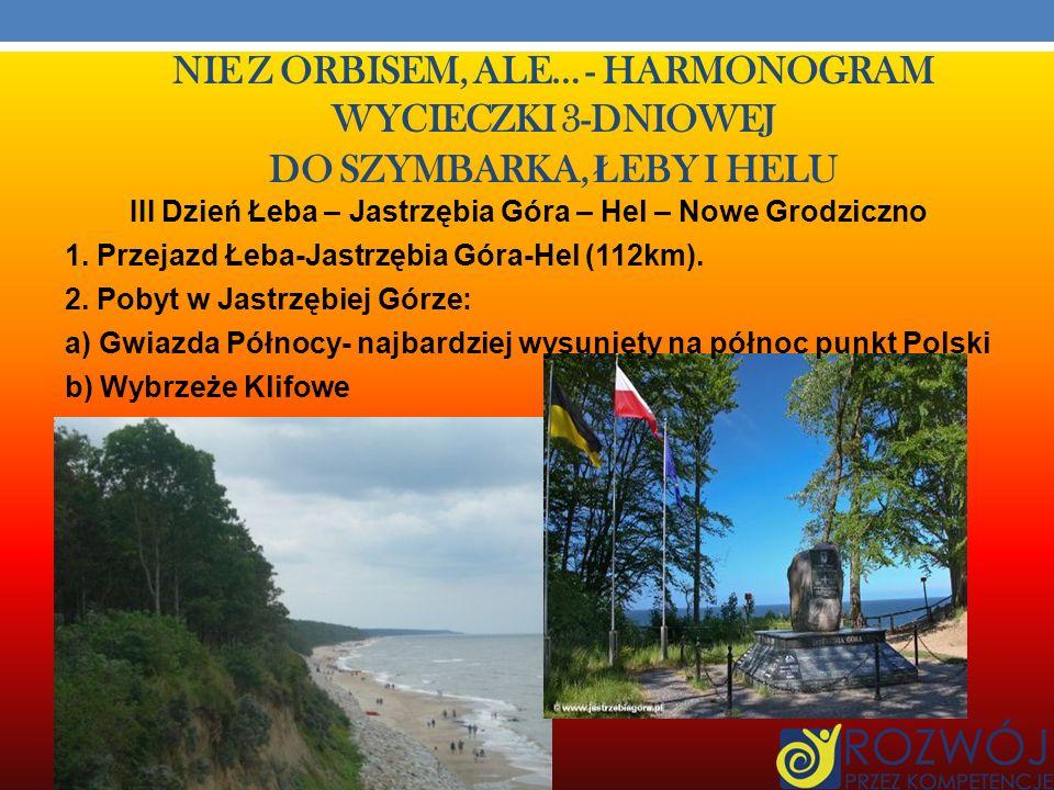 NIE Z ORBISEM, ALE… - HARMONOGRAM WYCIECZKI 3-DNIOWEJ DO SZYMBARKA, Ł EBY I HELU 5.Przejazd autokarem z Czołpina do Muzeum Wsi Słowińskiej w Klukach (9km).