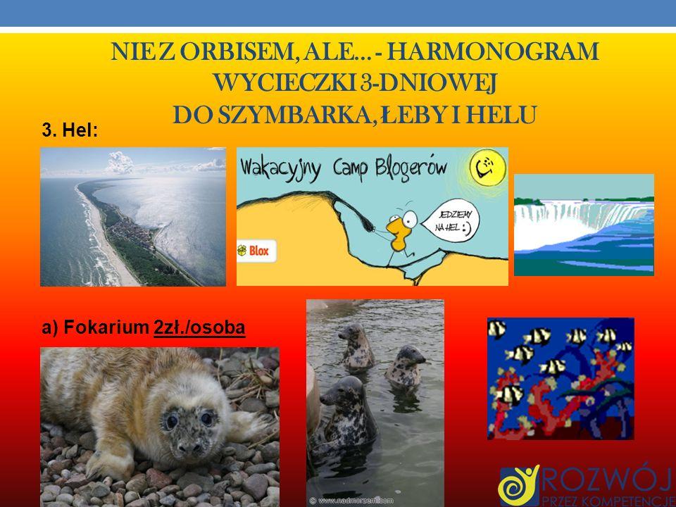 NIE Z ORBISEM, ALE… - HARMONOGRAM WYCIECZKI 3-DNIOWEJ DO SZYMBARKA, Ł EBY I HELU III Dzień Łeba – Jastrzębia Góra – Hel – Nowe Grodziczno 1. Przejazd