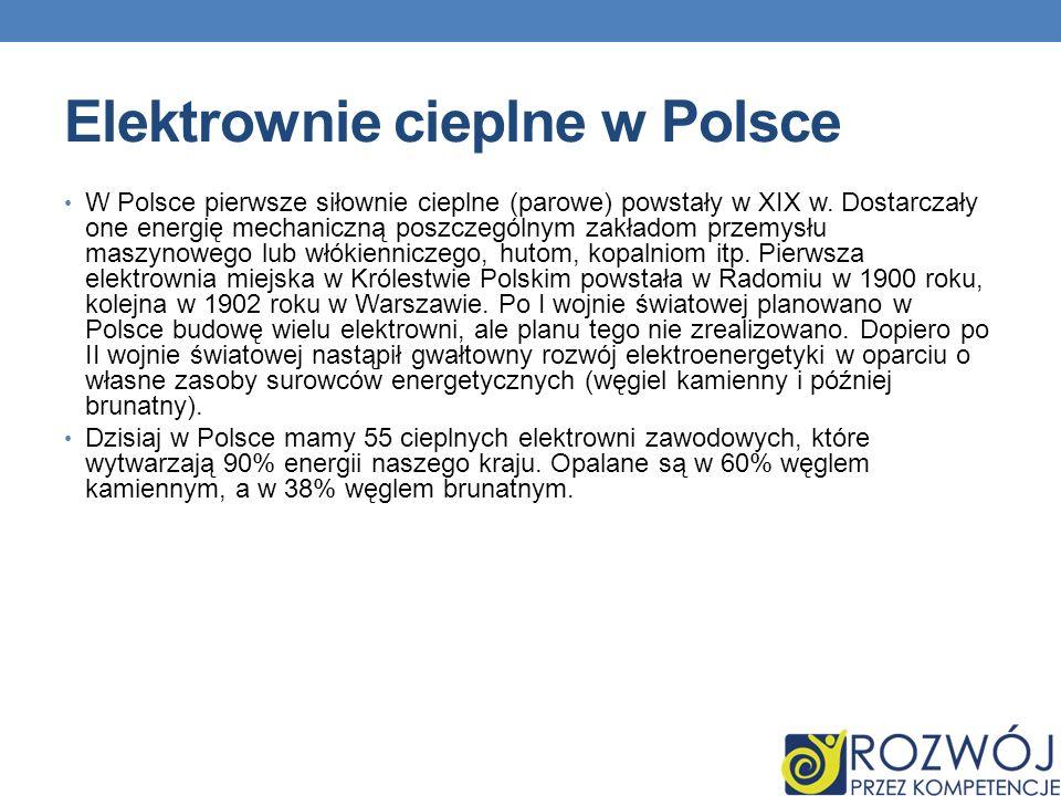Elektrownie cieplne w Polsce W Polsce pierwsze siłownie cieplne (parowe) powstały w XIX w. Dostarczały one energię mechaniczną poszczególnym zakładom