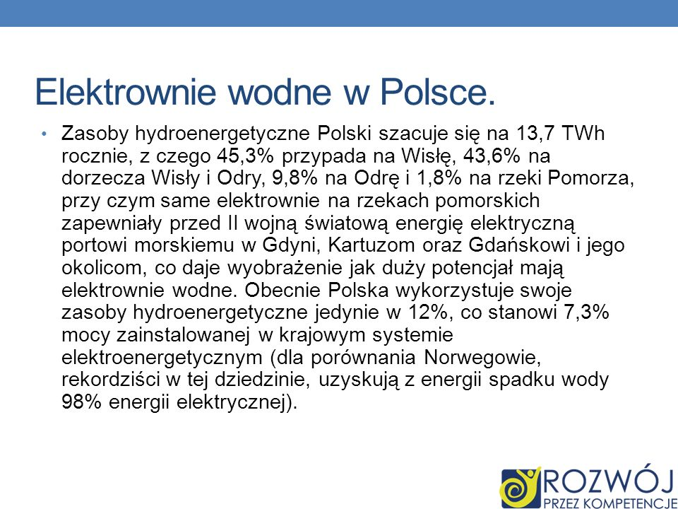 Elektrownie wodne w Polsce. Zasoby hydroenergetyczne Polski szacuje się na 13,7 TWh rocznie, z czego 45,3% przypada na Wisłę, 43,6% na dorzecza Wisły