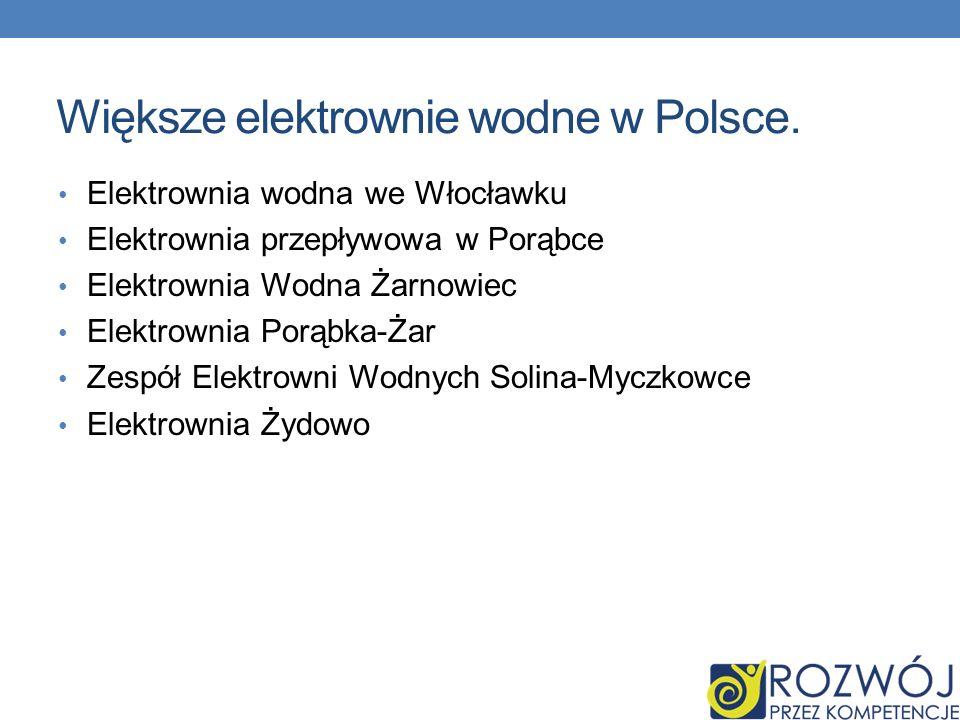 Większe elektrownie wodne w Polsce. Elektrownia wodna we Włocławku Elektrownia przepływowa w Porąbce Elektrownia Wodna Żarnowiec Elektrownia Porąbka-Ż
