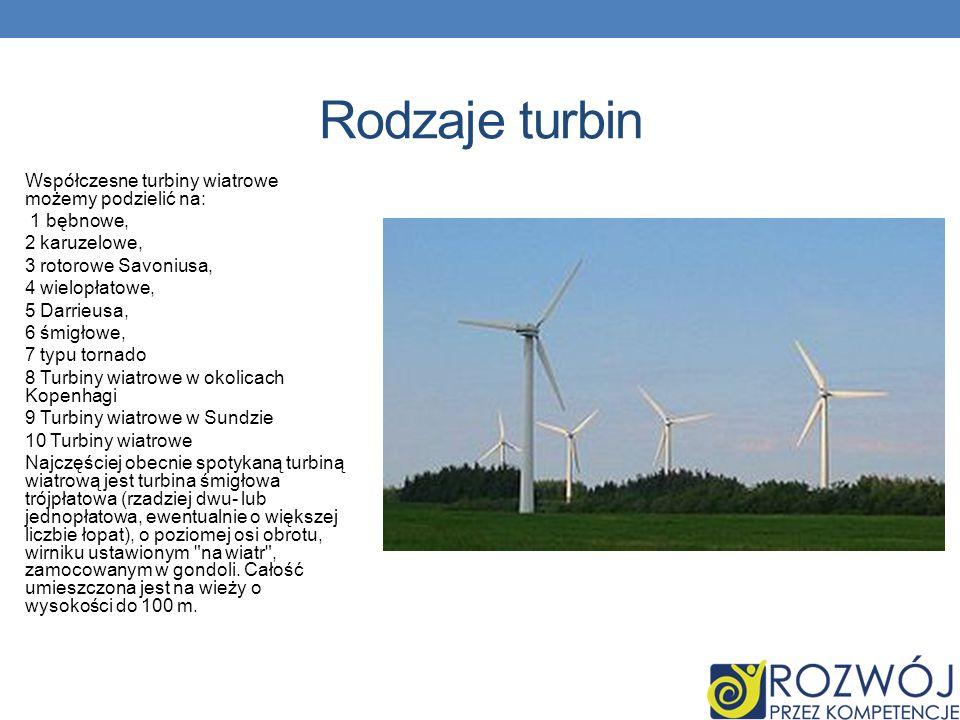 Rodzaje turbin Współczesne turbiny wiatrowe możemy podzielić na: 1 bębnowe, 2 karuzelowe, 3 rotorowe Savoniusa, 4 wielopłatowe, 5 Darrieusa, 6 śmigłow