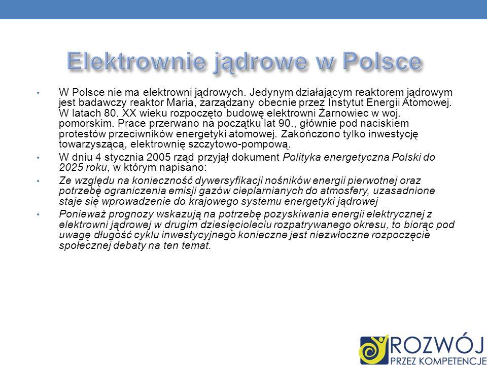 W Polsce nie ma elektrowni jądrowych. Jedynym działającym reaktorem jądrowym jest badawczy reaktor Maria, zarządzany obecnie przez Instytut Energii At