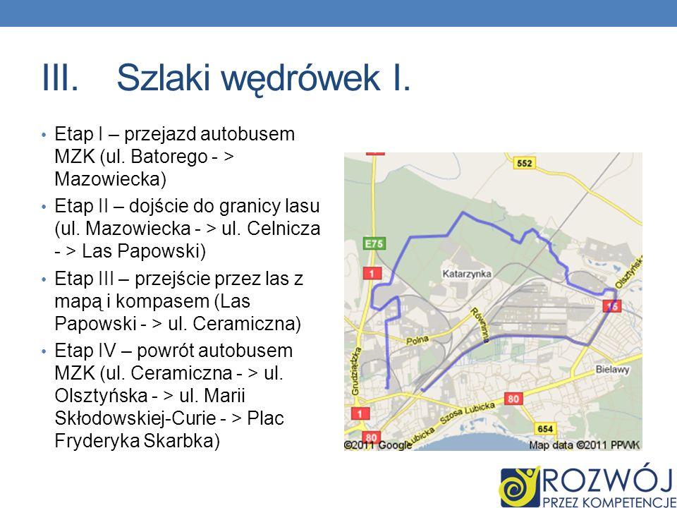III.Szlaki wędrówek I. Etap I – przejazd autobusem MZK (ul. Batorego - > Mazowiecka) Etap II – dojście do granicy lasu (ul. Mazowiecka - > ul. Celnicz