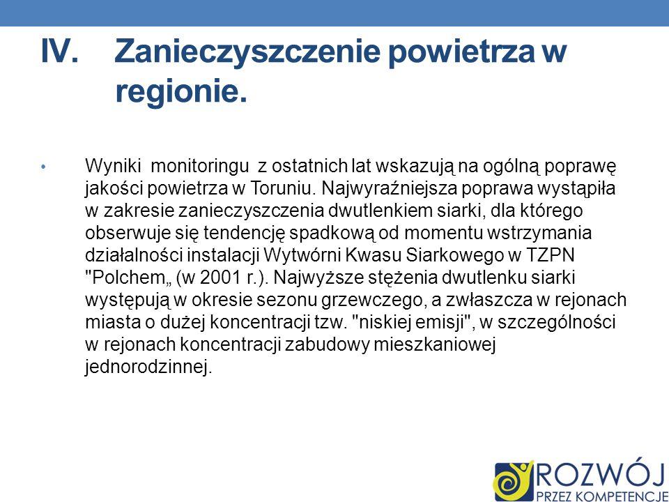 IV.Zanieczyszczenie powietrza w regionie. Wyniki monitoringu z ostatnich lat wskazują na ogólną poprawę jakości powietrza w Toruniu. Najwyraźniejsza p