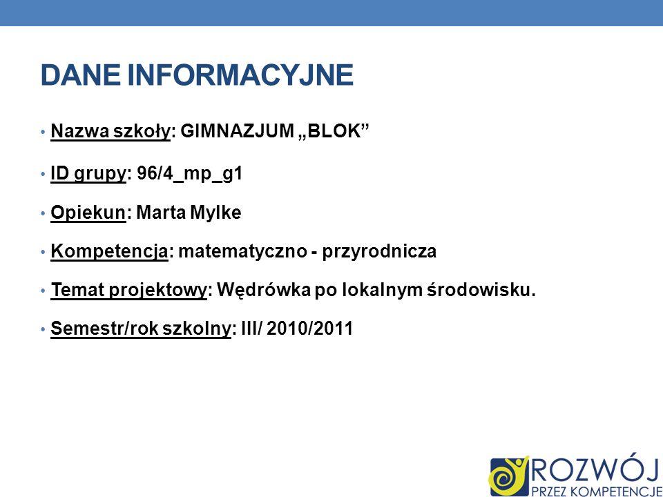 DANE INFORMACYJNE Nazwa szkoły: GIMNAZJUM BLOK ID grupy: 96/4_mp_g1 Opiekun: Marta Mylke Kompetencja: matematyczno - przyrodnicza Temat projektowy: Wę