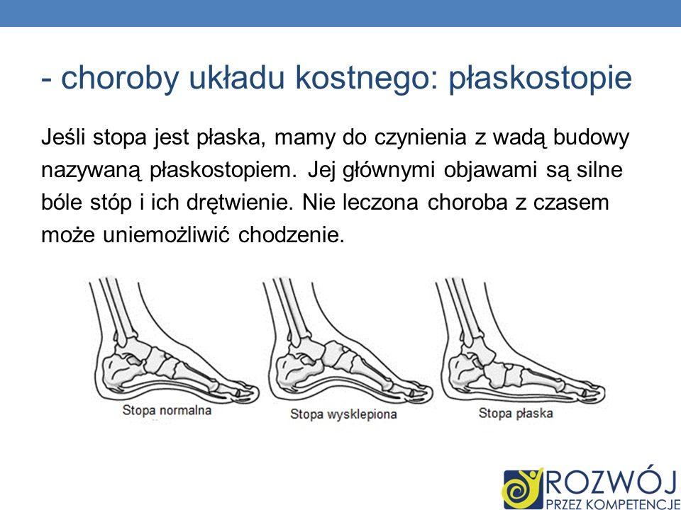 - choroby układu kostnego: płaskostopie Jeśli stopa jest płaska, mamy do czynienia z wadą budowy nazywaną płaskostopiem. Jej głównymi objawami są siln