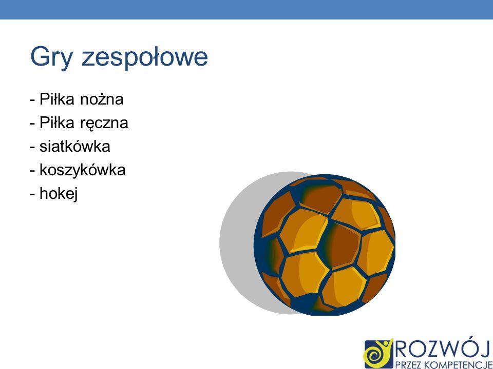 Gry zespołowe - Piłka nożna - Piłka ręczna - siatkówka - koszykówka - hokej