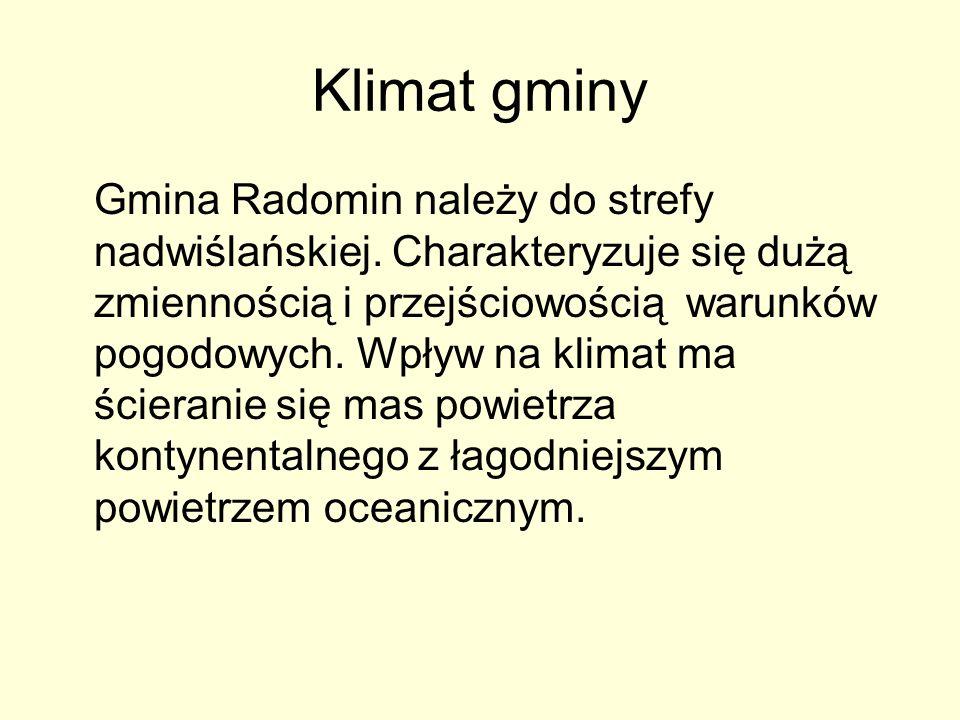 Klimat gminy Gmina Radomin należy do strefy nadwiślańskiej. Charakteryzuje się dużą zmiennością i przejściowością warunków pogodowych. Wpływ na klimat