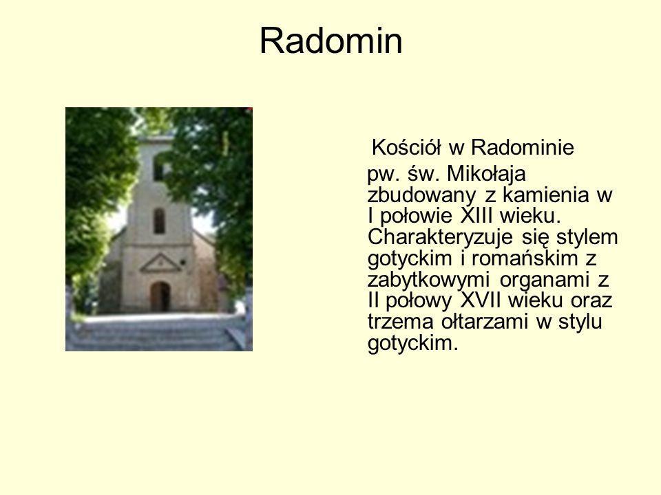 Radomin Kościół w Radominie pw. św. Mikołaja zbudowany z kamienia w I połowie XIII wieku. Charakteryzuje się stylem gotyckim i romańskim z zabytkowymi