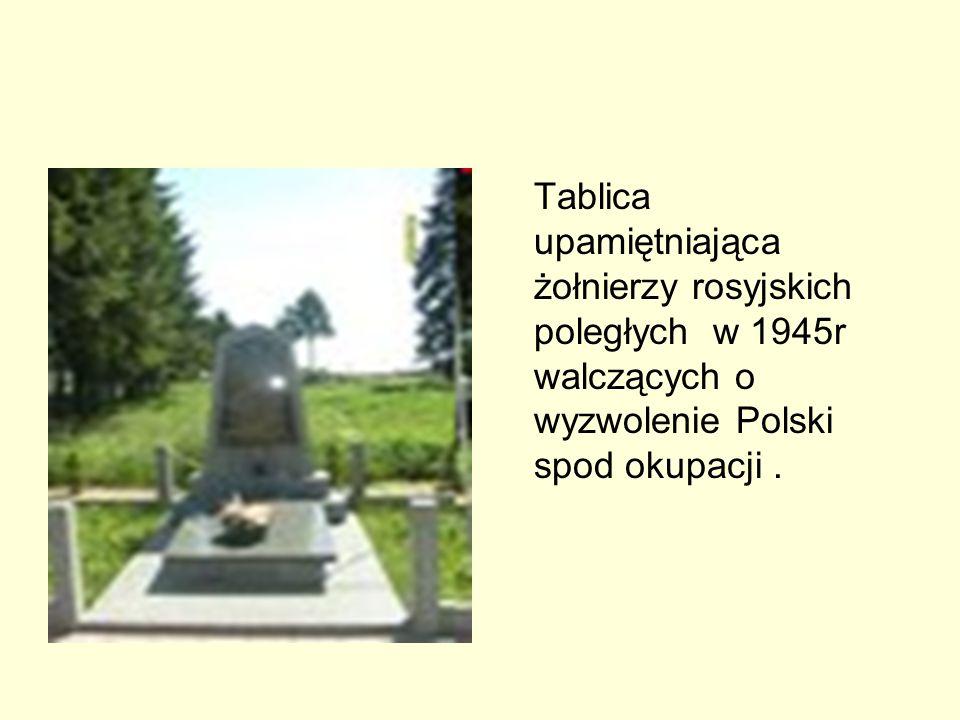 Tablica upamiętniająca żołnierzy rosyjskich poległych w 1945r walczących o wyzwolenie Polski spod okupacji.