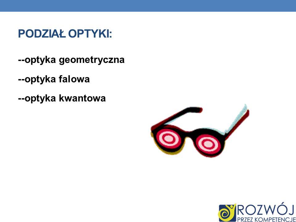 PODZIAŁ OPTYKI: --optyka geometryczna --optyka falowa --optyka kwantowa
