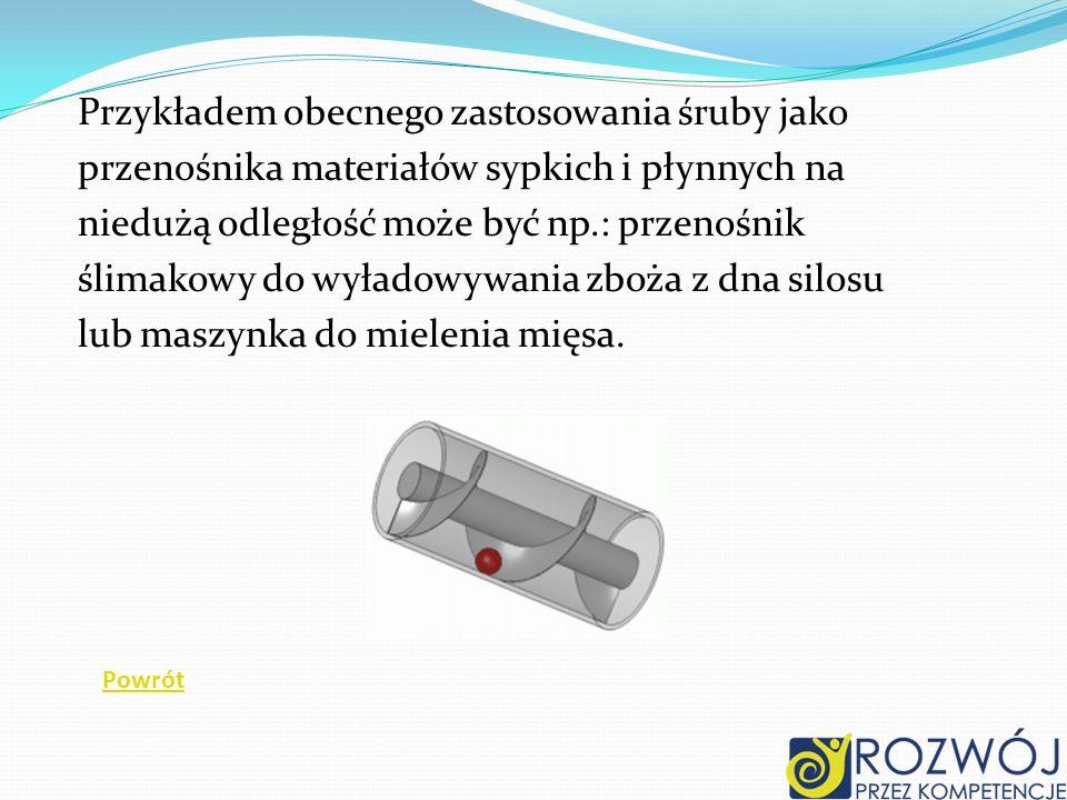 Przykładem obecnego zastosowania śruby jako przenośnika materiałów sypkich i płynnych na niedużą odległość może być np.: przenośnik ślimakowy do wyład