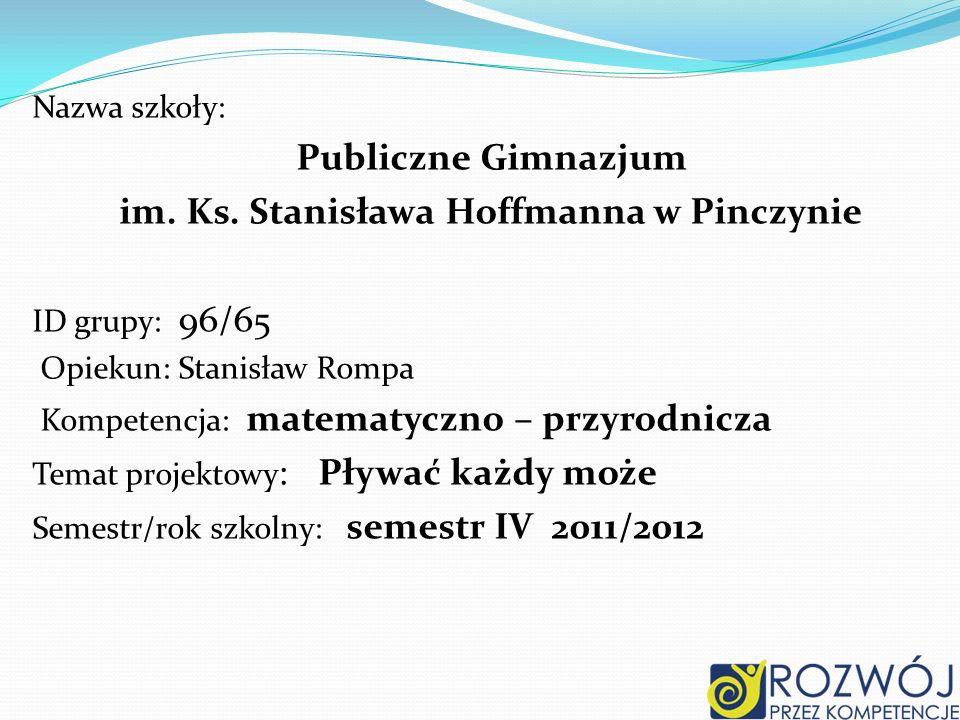 Nazwa szkoły: Publiczne Gimnazjum im. Ks. Stanisława Hoffmanna w Pinczynie ID grupy: 96/65 Opiekun: Stanisław Rompa Kompetencja: matematyczno – przyro