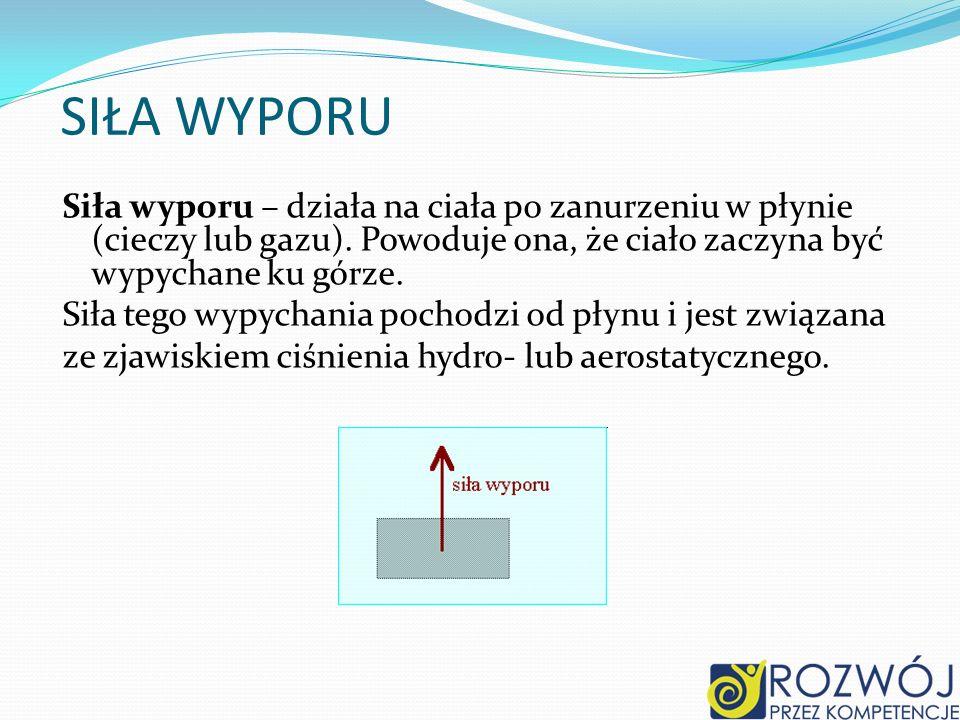 SIŁA WYPORU Siła wyporu – działa na ciała po zanurzeniu w płynie (cieczy lub gazu). Powoduje ona, że ciało zaczyna być wypychane ku górze. Siła tego w