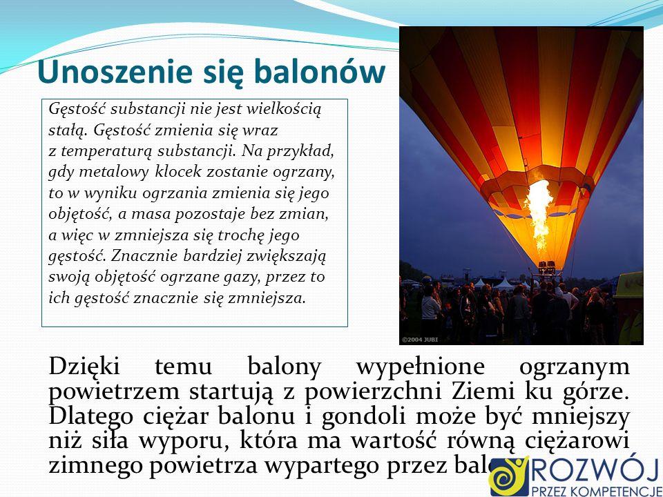 Unoszenie się balonów Gęstość substancji nie jest wielkością stałą. Gęstość zmienia się wraz z temperaturą substancji. Na przykład, gdy metalowy kloce