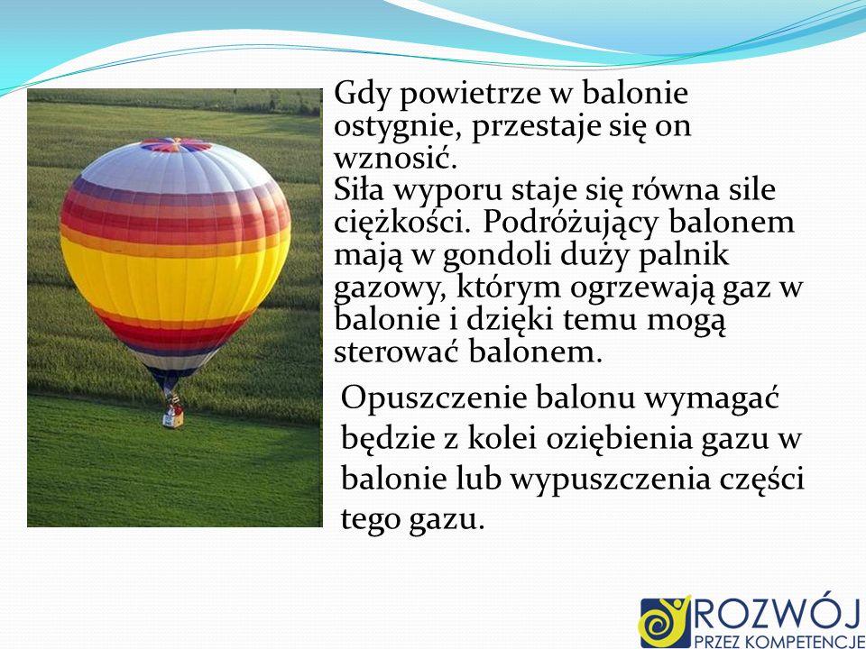 Opuszczenie balonu wymagać będzie z kolei oziębienia gazu w balonie lub wypuszczenia części tego gazu. Gdy powietrze w balonie ostygnie, przestaje się