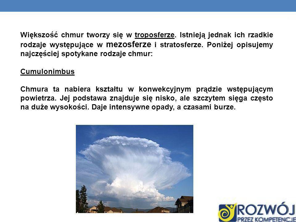 Większość chmur tworzy się w troposferze. Istnieją jednak ich rzadkie rodzaje występujące w mezosferze i stratosferze. Poniżej opisujemy najczęściej s