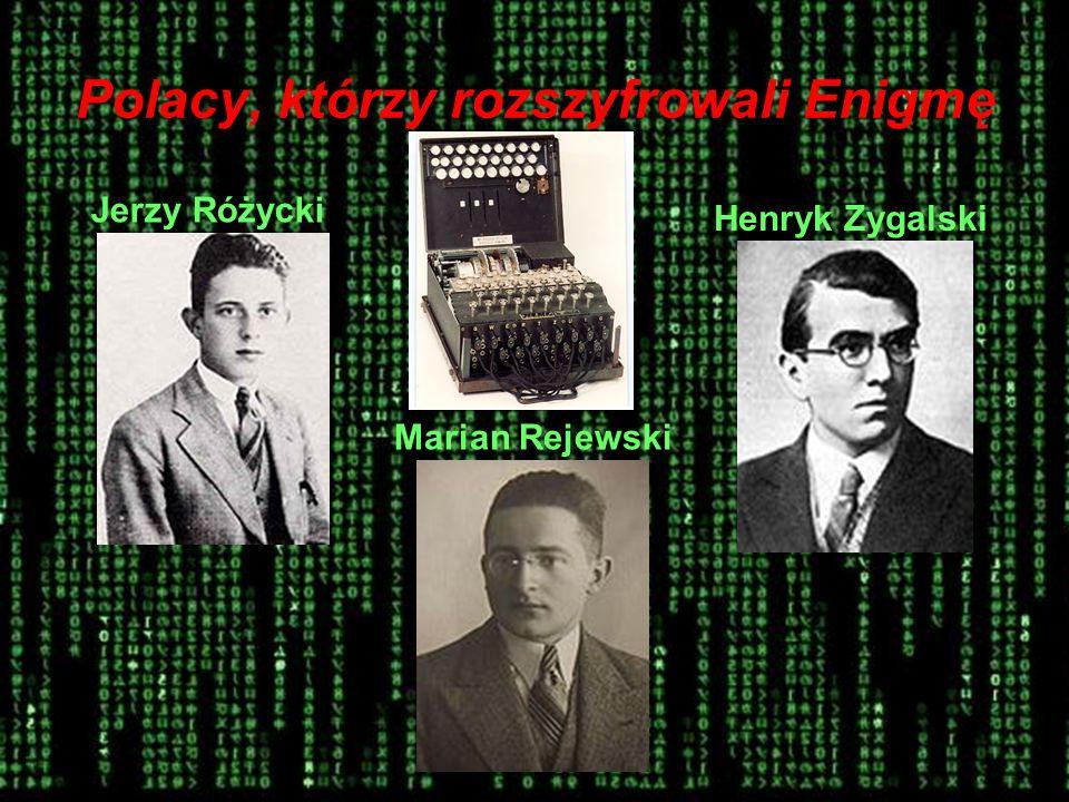 Polacy, którzy rozszyfrowali Enigmę Jerzy Różycki Marian Rejewski Henryk Zygalski