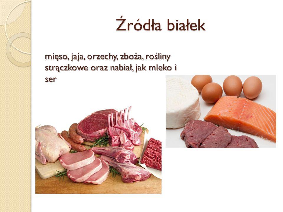 Źródła białek ser - mięso, jaja, orzechy, zboża, rośliny strączkowe oraz nabiał, jak mleko i ser